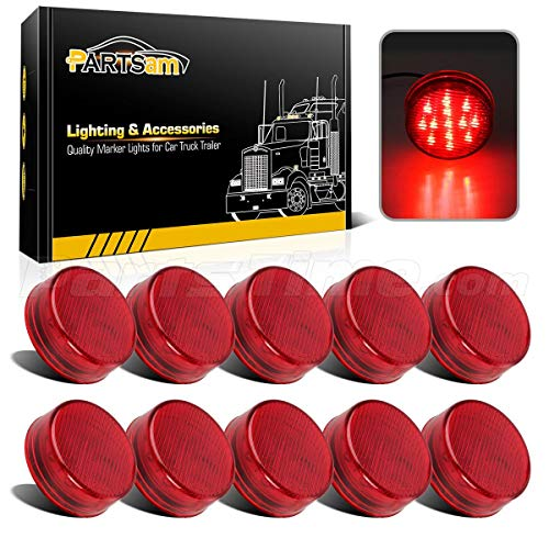 Partsam 10x 2.5 Round Side Marker light Clearance 13 Diodes Universal Use Sealed Red, 2.5 round led marker lights, 2.5 round led clearance lights, 2.5 round led trailer lights