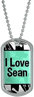 Graphics and More Dog Tag Pendant Necklace Chain I Love Heart Name Sa-Zo