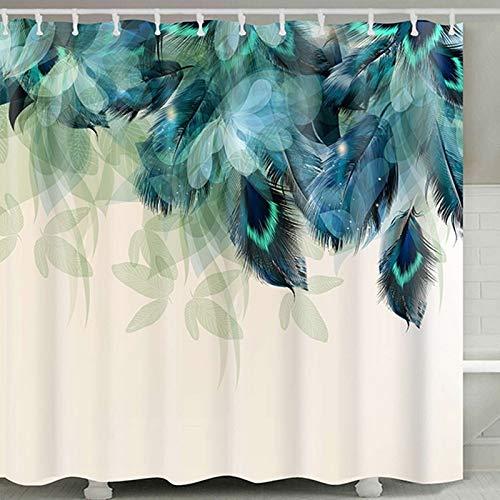 SMNHSRXH douchegordijn, waterdicht, met zeeschildjemotief, van polyester-stof, badkamerdecoratie, wasbaar, met 12 haken tegen schimmel