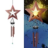 Solar Wind Chimes, Metal Retro Star Wind Chime Garden Lights Decoration Outdoor Crackle Glass Ball Warm LED Wind Bell Outside Waterproof Hanging Decor, Gift for Garden Patio Yard