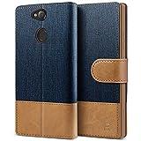 BEZ Handyhülle für Sony Xperia XA2 Hülle, Tasche Kompatibel für Sony Xperia XA2, Schutzhüllen aus Klappetui mit Kreditkartenhaltern, Ständer, Magnetverschluss, Blaue Marine
