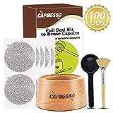 CAPMESSO Aluminum Foil Seals Kit to Reuse Refillable Nespresso Vertuoline Capsules, Vertuoline Pods (Complete Seal Kit+100pcs Lids)