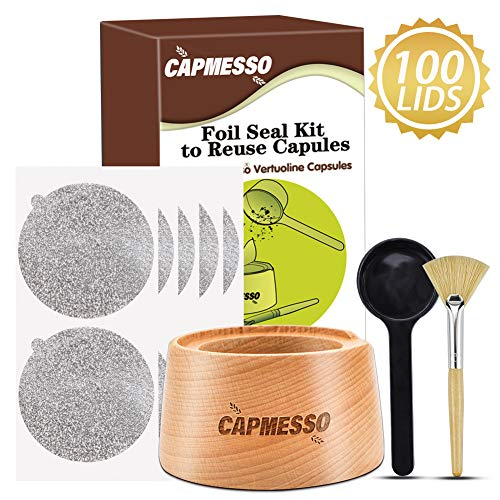 CAPMESSO Aluminum Foil Seals Kit to Reuse Refillable Nespresso Vertuoline Capsules, Vertuoline Pods (Complete Seal Kit+100pcs Lids)