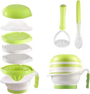 Matyz Versatile Baby Food Maker Set - Toddler Food Mills with Mash Bowl, Hand Masher, Citrus Juicer, Grater - Making Homemade Baby Food - Fruits and Vegetables Masher - BPA Free (Matyz Green)