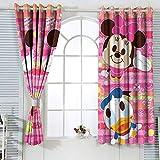 Cortinas con ojales Mic-key Min-nie Mouse para habitaciones de niños, cortina de ventana, tela de 42 x 72 pulgadas