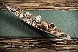MichaelNoll Dekoteller Schale Servierplatte Schiffchen Aluminium Silber Luxus - Moderne Dekoschale länglich aus Metall - Tischdeko - Dekoration für Wohnzimmer, Esszimmer oder Küche - XXL 80 cm - 4