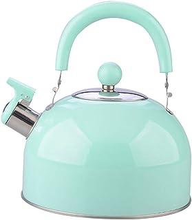 MYKOMI Tea Kettle for Stovetop Whistling Tea Pot, Top Classic Stainless Steel Whistling Tea Kettle Tea Pot 2.75 Quart Mint Green (green)