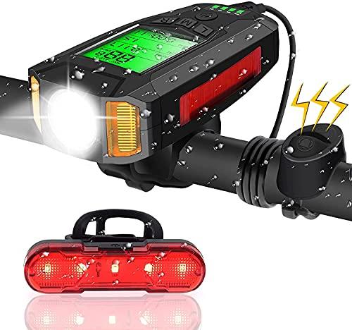 LED Fahrradlicht mit Fahrradcomputer USB Wiederaufladbarer Fahrradbeleuchtung Rücklicht Lauter Glocke 5 Beleuchtungsmodi Wasserdicht LCD Fahrradtacho Fahrradlampe Set Camping Wandern Mountain Rennrad