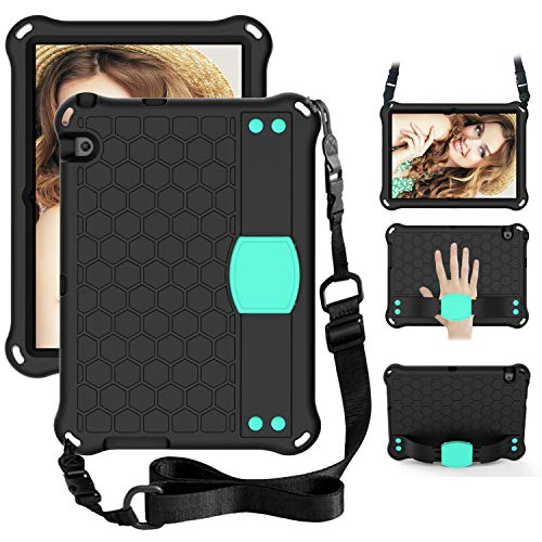 WHWOLF Funda para Huawei Mediapad T3 10 (9.6 pulgadas) para niños con soporte, correa para el hombro, correa de mano, a prueba de golpes, ligero, EVA ligero, Haqua