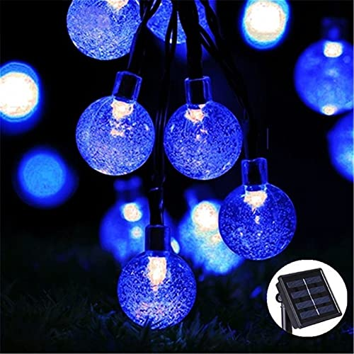 Festoon Lights 20/30/50 LED Crystal Ball LED Solar Lamp Convenient Durable And Harmless Power LED String Fairy Lights Solar Garlands Garden Christmas Decor For Outdoor ( Color : Blue , Size : 5Meter )