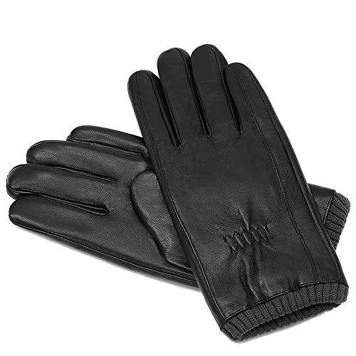 Acdyion Herren Winter Touchsreen Lederhandschuhe klassische Lederhandschuhe, warme winddicht wasserdicht, Futter aus Thinsulate Baumwolle, Outdoor, Motorrad(Schwarz, S)