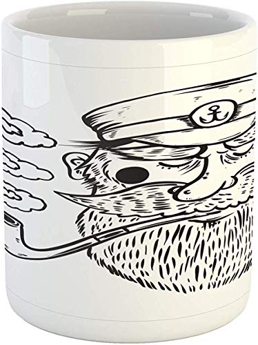Koffie Mok 11 oz Thee Beker, Vintage Nautische Tattoo Mok, Oude Zeeman Man Baard Anker Roken Pijp Zeevarend, Bedrukte Keramische Koffie Mok Water Thee Drankjes Beker, Kolen Grijs en Wit