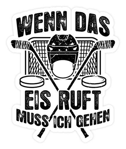shirt-o-magic Aufkleber Eishockey: Das Eis ruft - Sticker - 20x20cm - Weiß
