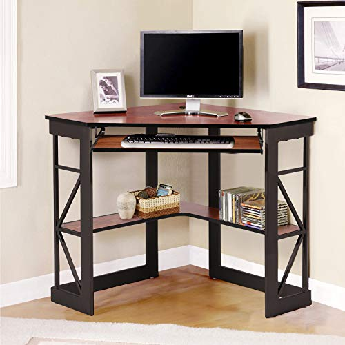 VECELO Corner Desk Computer-Eckschreibtisch mit glatter Tastaturablage und Ablageflächen, kompakter Heimbüro-Schreibtisch, Teakholz, Spanplatte, braun (Teak)