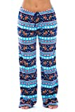 6339-10129-M Just Love Women's Plush Pajama Pants - Petite to Plus Size Pajamas,Navy / Aqua - Reindeer Fairisle,Medium