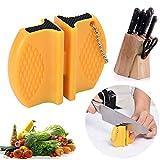 Afilador de cuchillos de cerámica de dos etapas de tungsteno portátil tipo mariposa afilador de afilar cuchillos piedra (color amarillo, tamaño: S)