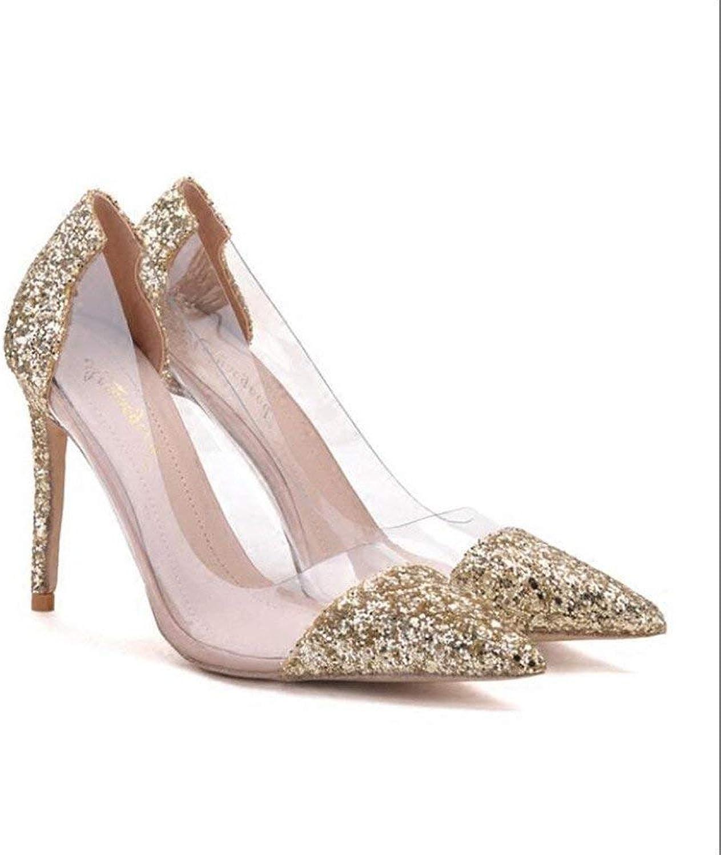 Eeayyygch Gericht Gericht Gericht Schuhe Tipps gut mit High Heels weiblich war dünn Gold Silber Wilde Flut Zeigen Schuhe Frauen Hochzeitsschuhe (Farbe   38, Größe   schwarz 10CM)  d5b843