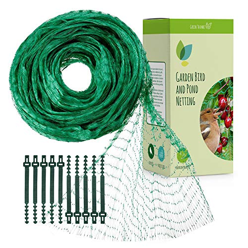 Gartennetz Vogelschutz für den Garten, Baumnetz gegen Vögel, Erdbeernetz Feinmaschig und Abdecknetze für Garten (4m x 10m mit 50 Gartenverbindungen)