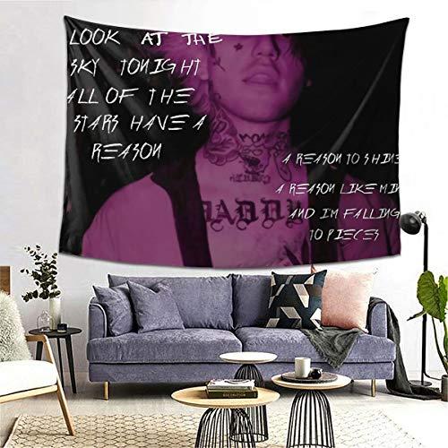 MOONSOON Lil Peep Star Shopping-Liedtext, signiertes Foto, Boutique, Wandbehang, Wandteppich, Vintage, Wandteppich, Mikrofaser, pfirsichfarben, Heimdekoration, 152,4 x 203,2 cm