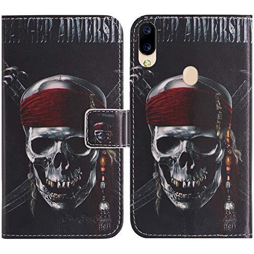TienJueShi Totenkopf Flip Stand Brief Leder Tasche Schütz Hülle Handy Hülle Für Archos Oxygen 57 5.71 inch Abdeckung Fall Wallet Cover Etüi