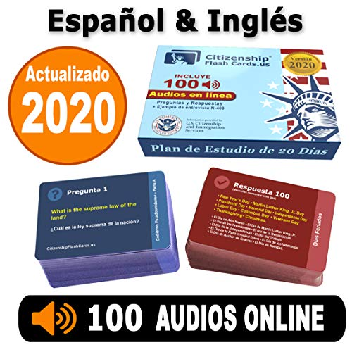 Compare Textbook Prices for US Citizenship Test Study Guide 2020, Ciudadania Americana 2020 en Español. SPANISH & ENGLISH  100 Flash Cards + Audios Online - 100 Official USCIS Questions & Answers. Ciudadania 2020  ISBN 0860001025002 by CitizenshipFlashCards.us