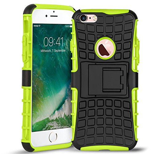 Conie OC1725 Outdoor Hülle Kompatibel mit iPhone 6 Plus / 6s Plus, Defender robuste Schutzhülle Hülle extra Schutz für iPhone 6S Plus iPhone 6 Plus Hülle Schwarz Grün