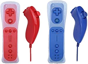 Poulep 2 Packs Nunchuck and Remote Controller for Nintendo Wii Wii U Console - Red and Deep Blue