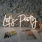 DIVATLA Neon Sign Let's Party Sign for Bachelorette Party Engagement Party First Birthday Favors, Birthday Party,Wedding,Size- 23X10inches LED Tube Sign for Wall Decor. (Power Adapter included)