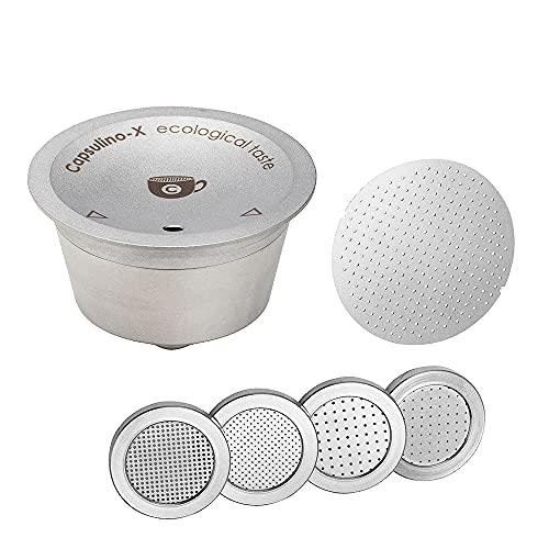 Capsule Ricaricabili compatibili con Dolce Gusto, Capsul-inoX Capsule Riutilizzabili per Macchina Caffè, Acciaio Inox, Ideale anche per tisane e infusi, Made in Italy