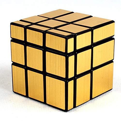 AMAZOM Espejo Dorado Plata Espejo De Viento Irregular 3 X 3 X 3 Velocidad Cubo Twisty Box Puzzle,Oro