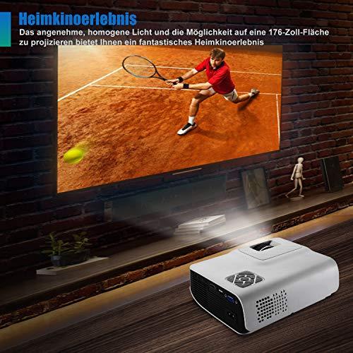 FunLites Video Projektor Full HD, Portable Mini Beamer, Native 1280x720P unterstützt 1080P, HDMI VGA AV USB kompatibel, Schwarzweiß - 3