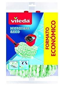 Vileda Microfibras Eco - Paquete de 2 recambios para fregona, 100% microfibras, gran capacidad de limpieza y absorción, color verde y blanco