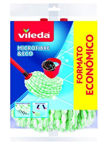 Vileda Microfibre Eco Wischmopp-Nachfüllpackung, 100% Mikrofaser, hohe Reinigungs- und Saugfähigkeit, Grün/Weiß, 2 Stück
