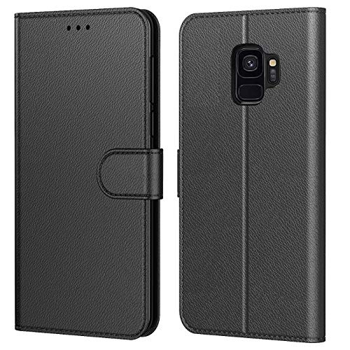 Tenphone Etui Coque pour Samsung Galaxy S9, Protection Housse en Cuir PU Portefeuille Livre,[Emplacements Cartes],[Fonction Support],[Languette Magnétique] pour (Galaxy S9 (5,8 Pouces), Noir)
