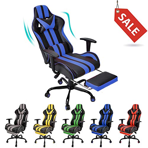 Racing Style PC Computer Chair,Massage Gaming Chair, E-Sports Chair,Ergonomic Office Chair with Height Adjustment,Retractable Footrest,Headrest and Lumbar Support(Navy Blue) chair gaming