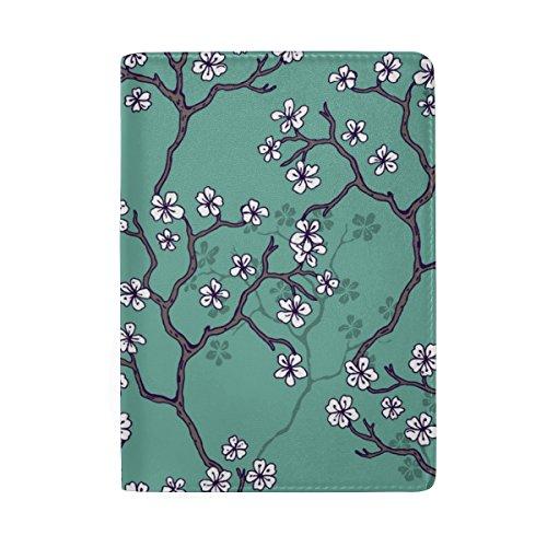 ColourLife Capa para passaporte de couro com árvores de flores