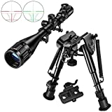CVLIFE 6-9 Quick Release Bipod | Hunting Rifle Scope 6-24x50 AOE Red and Green Illuminated Gun Scope with Free Mount