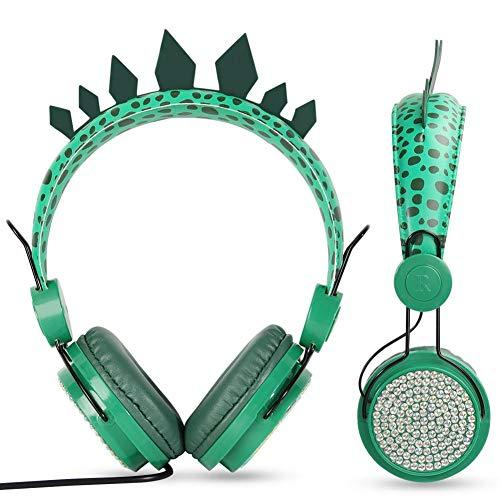 Jannyshop - Auriculares con cable para niños, diseño de dinosaurio verde, ajustable, 3,5 mm, con micrófono integrado, para niños y niñas