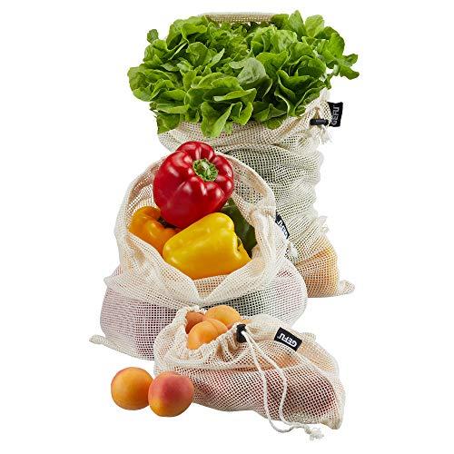 GEFU 12717 Obst- und Gemüsenetz AWARE, 3-teilig, Größe S, M, L - wiederverwendbare Gemüsebeutel - zero waste - nachhaltig - bio