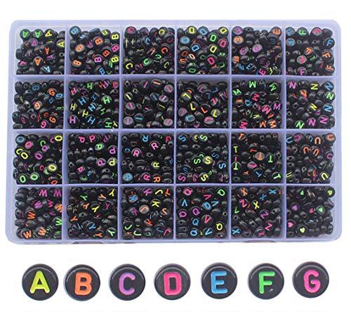 GOTONE 1200 Stück Perlen Buchstaben, Runde Buchstabenperlen Alphabet (A-Z) für Armband, Schmuck, DIY Perlen Basteln, Schwarz
