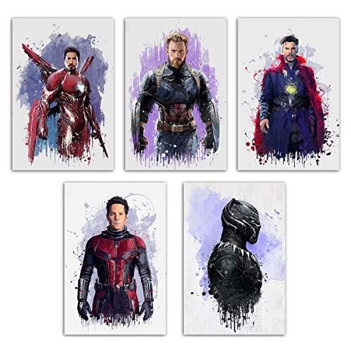 Póster de superhéroe de Marvel – Impresión en lienzo de Avenger Endgame para habitación de niños, acuarela de Capitán América/Pantera Negra/Iron