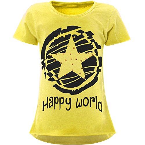 BEZLIT Stern-Print Mädchen Kinder T-Shirt Kunst-Perlen Kurzarm Shirt 22158 Gelb Größe 152