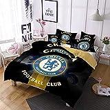 EU-VV Juego De Cama Chelsea F.C Funda Nórdica Blanca Cómoda Funda De Edredón para Dormitorio Funda De Almohada 50x75cm, Microfibra ((220x240 cm)-Cama de 150/160,patrón 01)