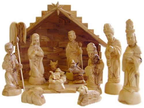 Deluxe Olive Wood Nativity Set- Hand Carved in Bethlehem, the Holy Land. by zytoon
