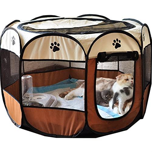 YYQQ Tragbare Folding Pet Zelt Hund Haus achteckige Käfig für Katze Zelt Laufstall Puppy Kennel Easy Operation Zaun Outdoor Big Hunde Haus (Color : Coffee, Size : 74x74x43CM)