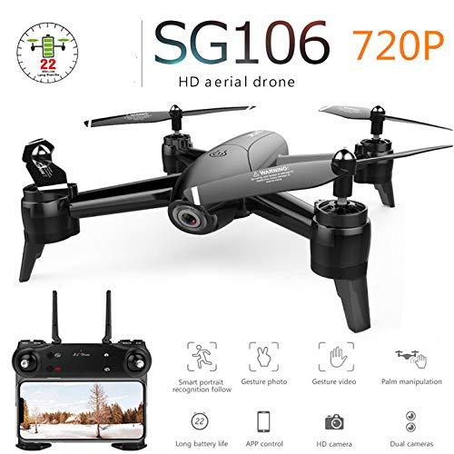 FairOnly Drone SG106 con cámara Dual 1080P 720P 4K WiFi FPV Video aéreo en Tiempo Real Gran Angular Flujo óptico RC Quadcopter Helicóptero Juguetes Cámara Individual 720P Juguetes