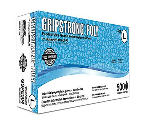Disposable Foodservice Grade Polyethylene Gloves - Transparent Food Safe Gloves for Food Preparation and Handling - 500 Count - Large