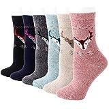 RedMaple Damen Wollsocken Winter Warme Dicke Stricken Socken mit Neuheitsmuster