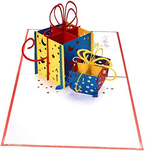 3D Geburtstagskarte – 2 bunte Geschenke – Pop up Karte, Glückwunschkarte Geburtstag, Grußkarte, Geschenkkarte als Gutschein oder für Geldgeschenk, Happy Birthday Card, Geburtstagskarten - 4