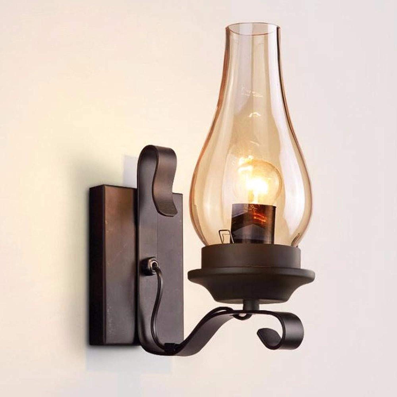 LANGNY Wandleuchte modern Stil Wandlampe Nachtlicht für Bar Schlafzimmer Küche Restaurant Café Flur Babyzimmer Schwarzes Schmiedeeisenglas